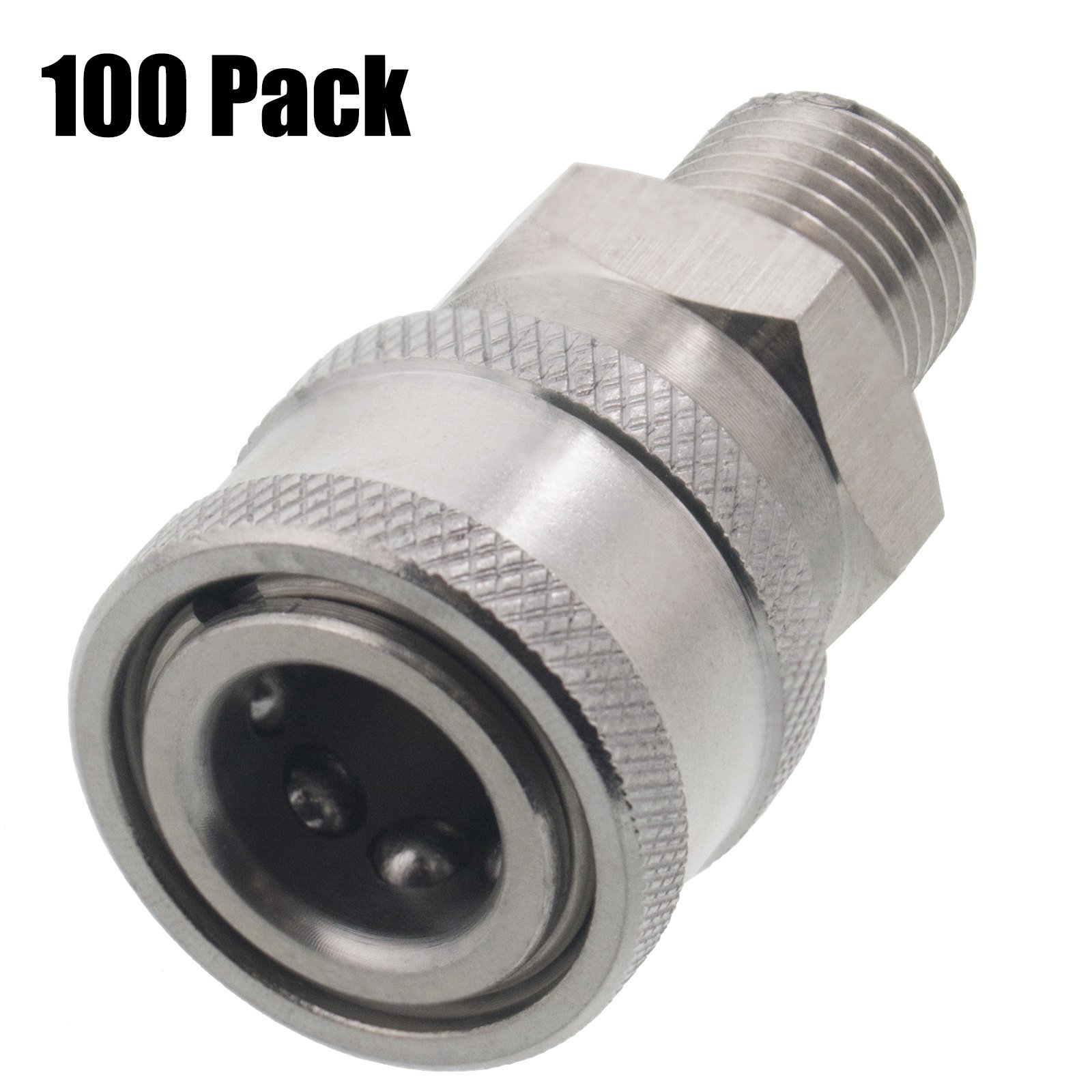 Erie Tools 100 Pressure Washer 1/4in. Male NPT to Quick Connect Socket Stainless Steel Coupler High Temp 5000 PSI 10.5 GPM