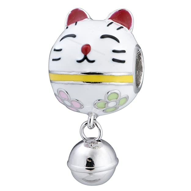 Rhodium On 925 Sterling Silver Fortune Lucky Cat Enamel Jingle Bell Dangle European Style Charm lVUwh