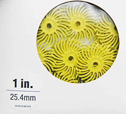 "Radial Bristle Discs 3M Yellow 80 Grit 1/"" Bristle Brush Pack of 6 Discs"
