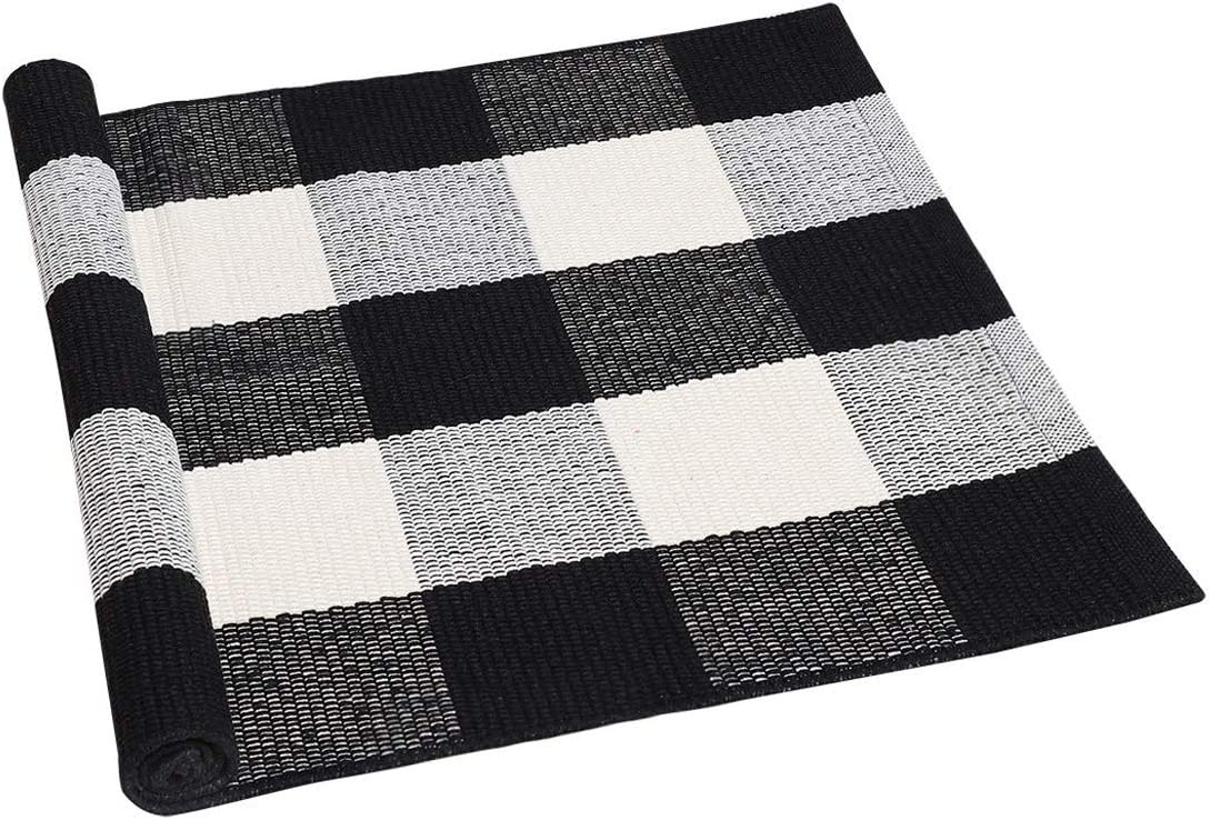 MXCELL Cotton Plaid Area Floor Rugs Indoor Outdoor Woven Washable Buffalo Checkered Mat Rugs 59 x 35.4in
