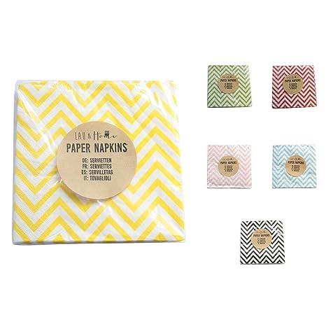 Partido servilletas de papel Chevron - Bazar para matrimonio cumpleaños (Amarillo, 100)