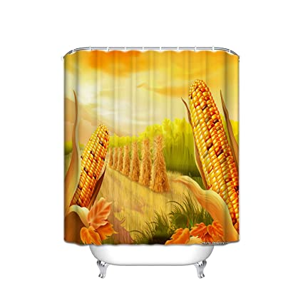 JANNINSE Happy Thanksgiving Corn Field Harvest Shower Curtain Bathroom 100 Polyester
