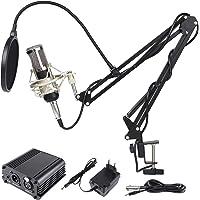 MVPOWER 8Stk Kondensator Mikrofon Kondensator Mikrofon Kit Professionelle Studio Rundfunk mit Ständer, Shock Mount, Montage Klemme