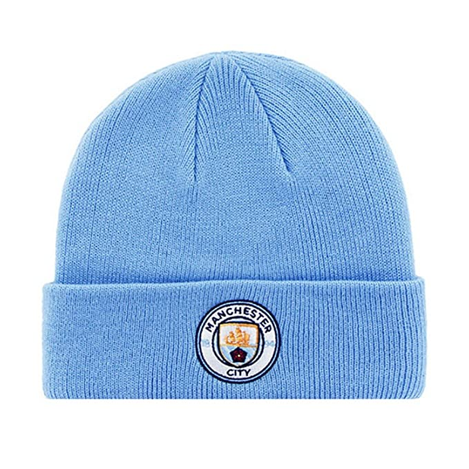 Manchester City FC Adults Official Knitted Winter Football Soccer Crest Hat  (One Size) 8aa58b6e7