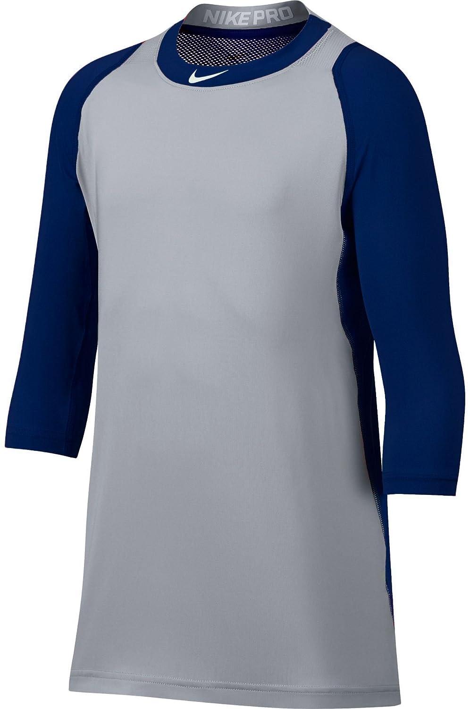 Nike Boys ' PRO COOL ¾ -sleeve野球シャツ B077LM3PVY Large|ネイビー/グレー ネイビー/グレー Large