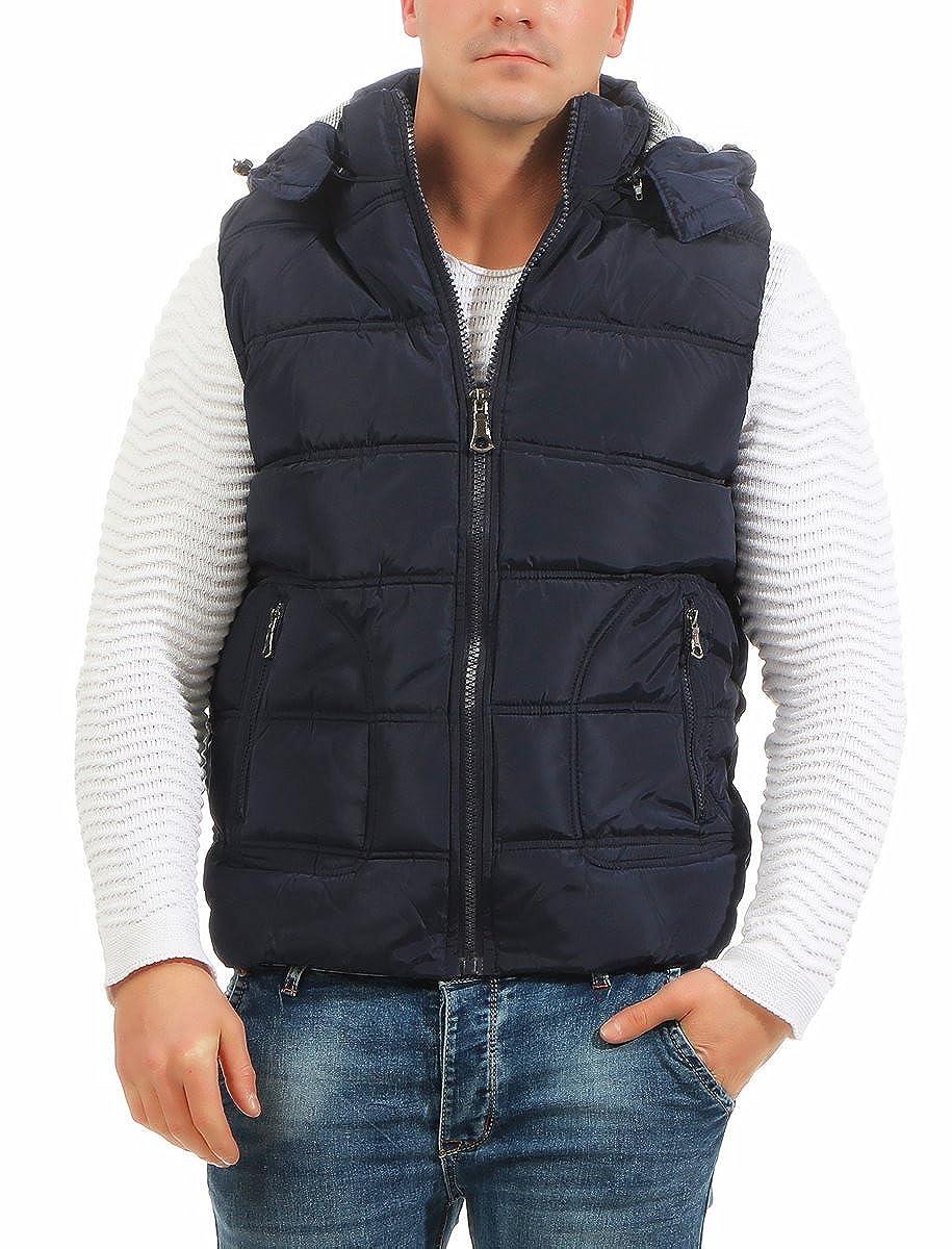 4452 Fashion4Young Herren Weste Steppweste Kapuze Jacke Outdoor Bodywarmer Übergangsjacke