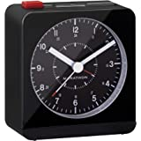 Marathon Silent Non-Ticking Alarm Clock with Warm Amber Auto Back Light and Repeating Snooze - Batteries Included - CL030053BK (Black/Black)