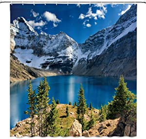XZMAN Mountain Scenic Shower Curtain Nature Mountain Lake Blue Sky White Cloud Landscape Print Simple Home Fabric Bath Curtain Bathroom Decor Set Include Hooks,70 Inches
