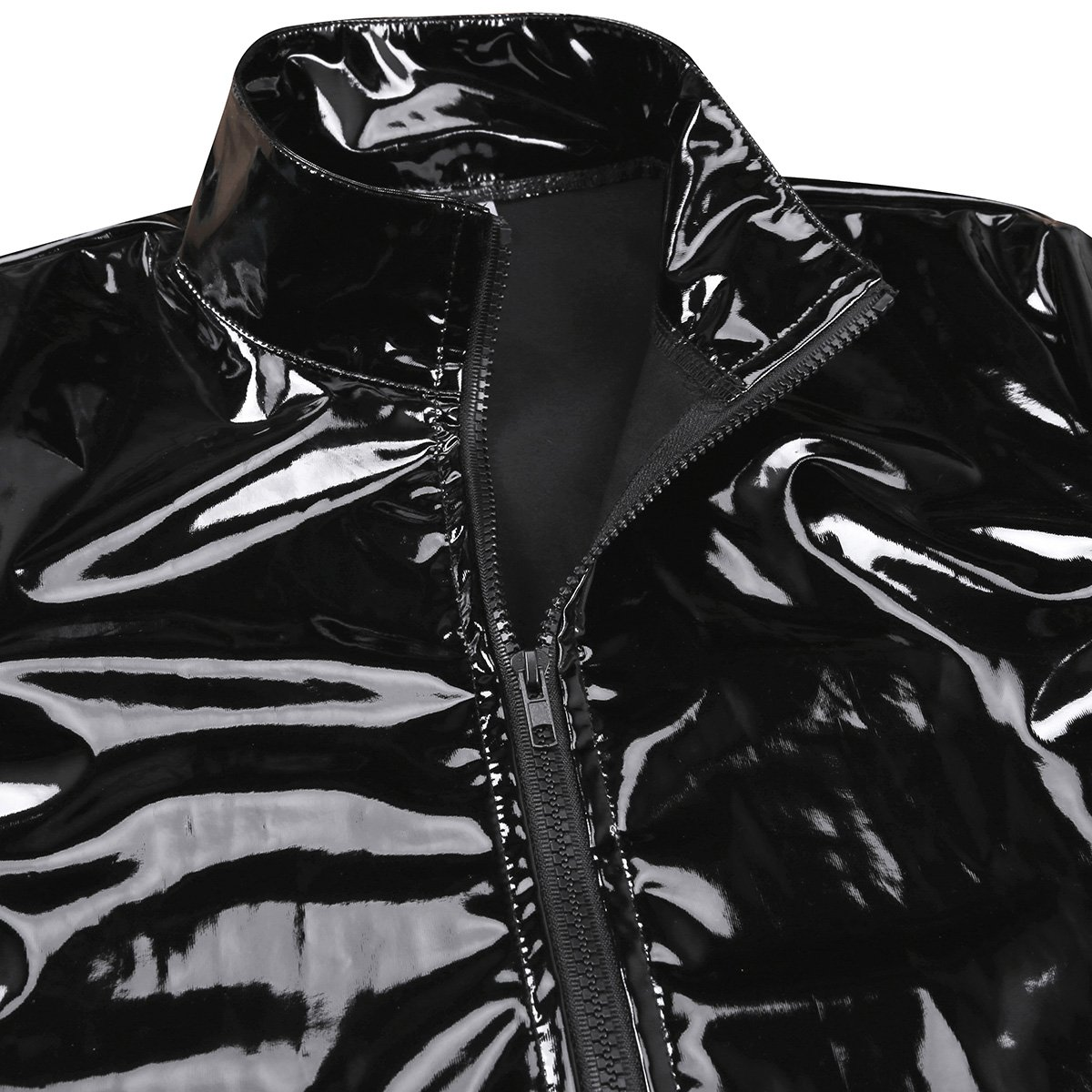 Agoky Men's Metallic Faux Leather Front-Zip Mock Neck Nightclub Style T-Shirt Top Coat Black XX-Large by Agoky (Image #6)