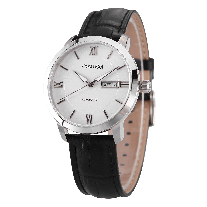 Comtex Herren- Mechanische Automatik Armbanduhr mit Schwarz Leder Silberne GehÄuse Armbanduhr