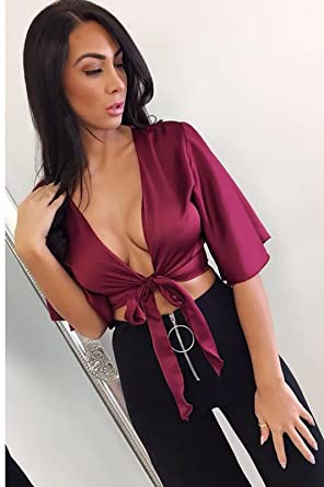 0d8cbbe8154 xiangon New Womens Ladies Satin Silk Tie up Knot Flared Sleeved Cropped Top  Plunge Shirt Wine: Amazon.co.uk: Clothing