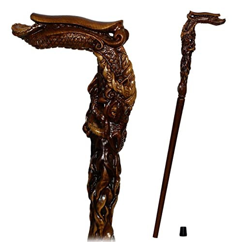Hand carved Wood Crafted Cane Fiery Dragon Walking     - Amazon com