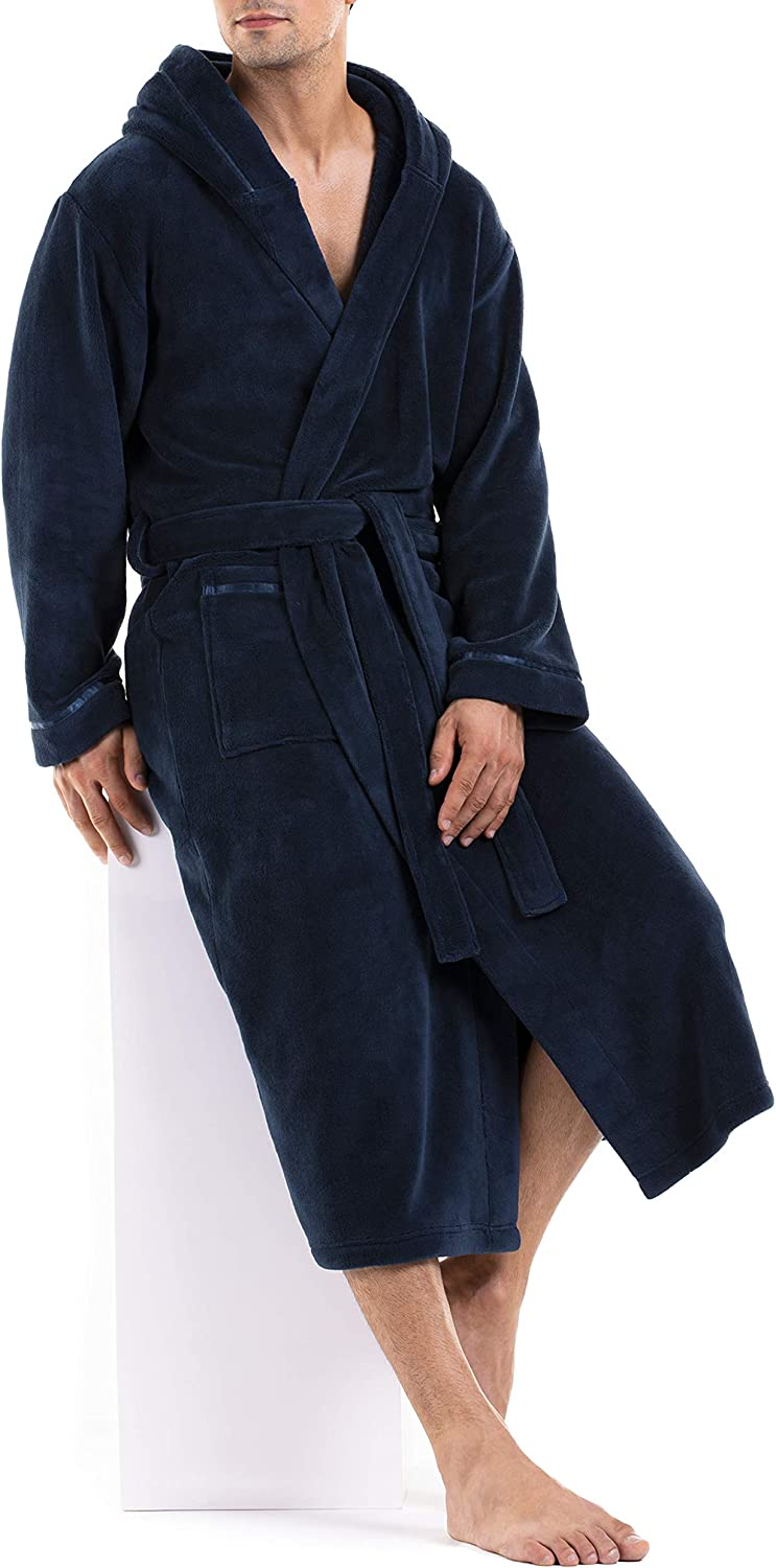 DAVID ARCHY Mens Hooded Fleece Soft Robe Full Length Lounge Robe Loungewear