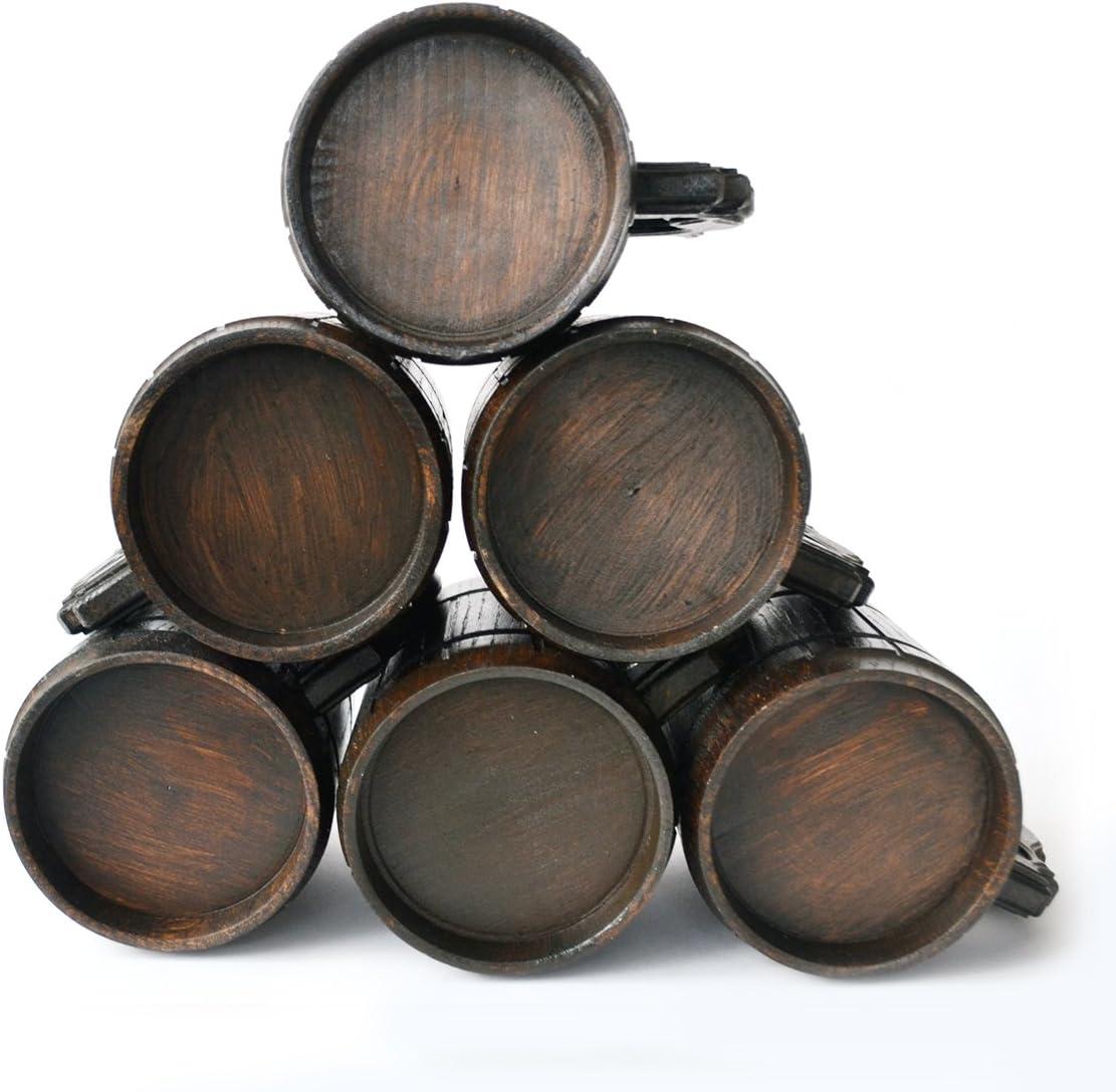 567 g Marron r/étro Lot de 6 tasses /à bi/ère faites /à la main en bois de ch/êne et acier inoxydable 0,6 l Cadeau naturel respectueux de lenvironnement