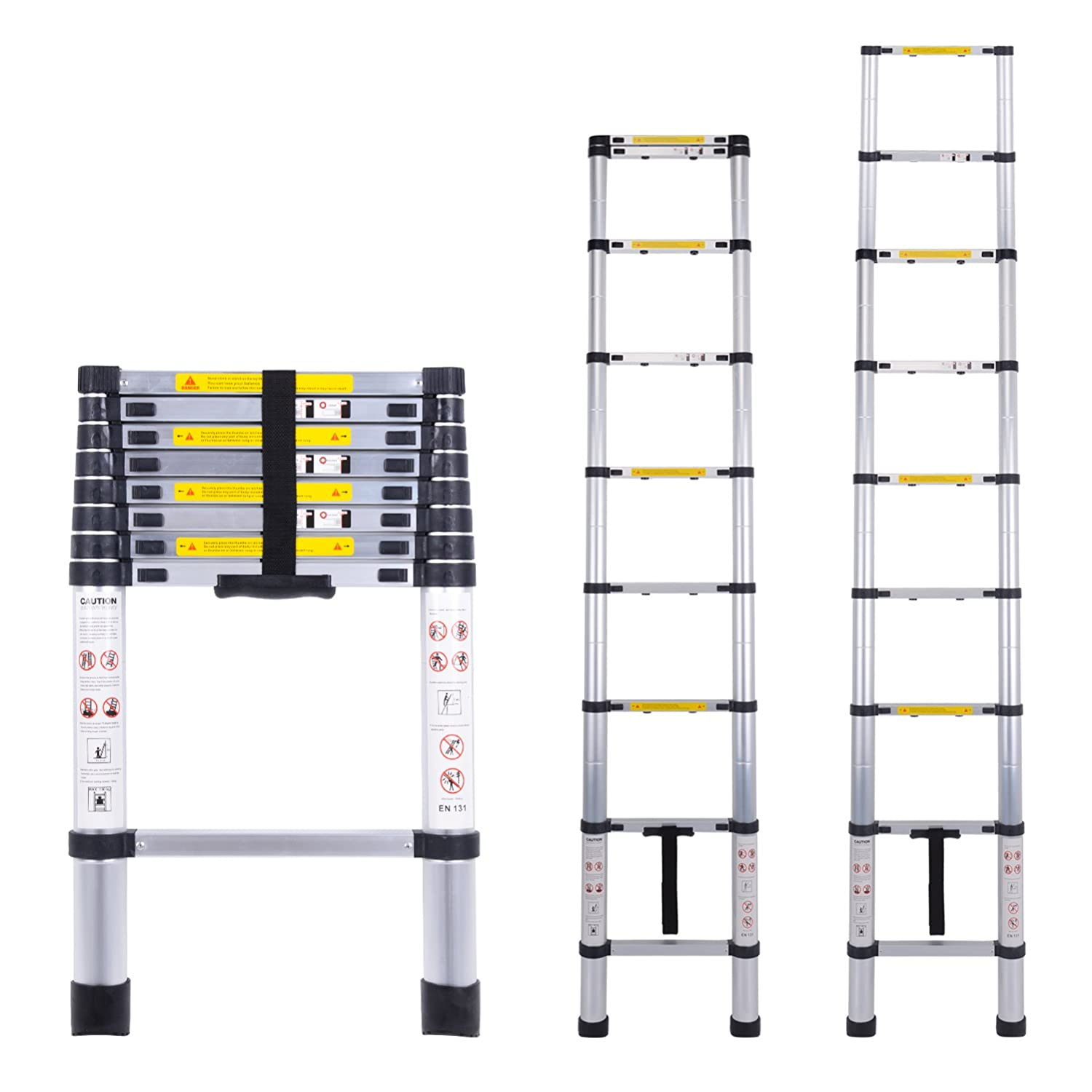 Telescopic Ladder Multi-Purpose Aluminium Telescoping Ladder Extension Extend Portable Ladder Foldable Ladder EN131 and CE Standards (3.2M/10.5Ft) by Myifan