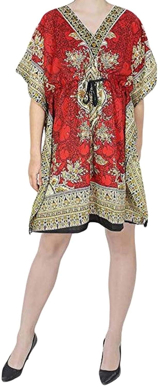 Mini Kaftan India Women/'s Short Kaftan Caftan V Neck Top Robe Beach Tunic Dress