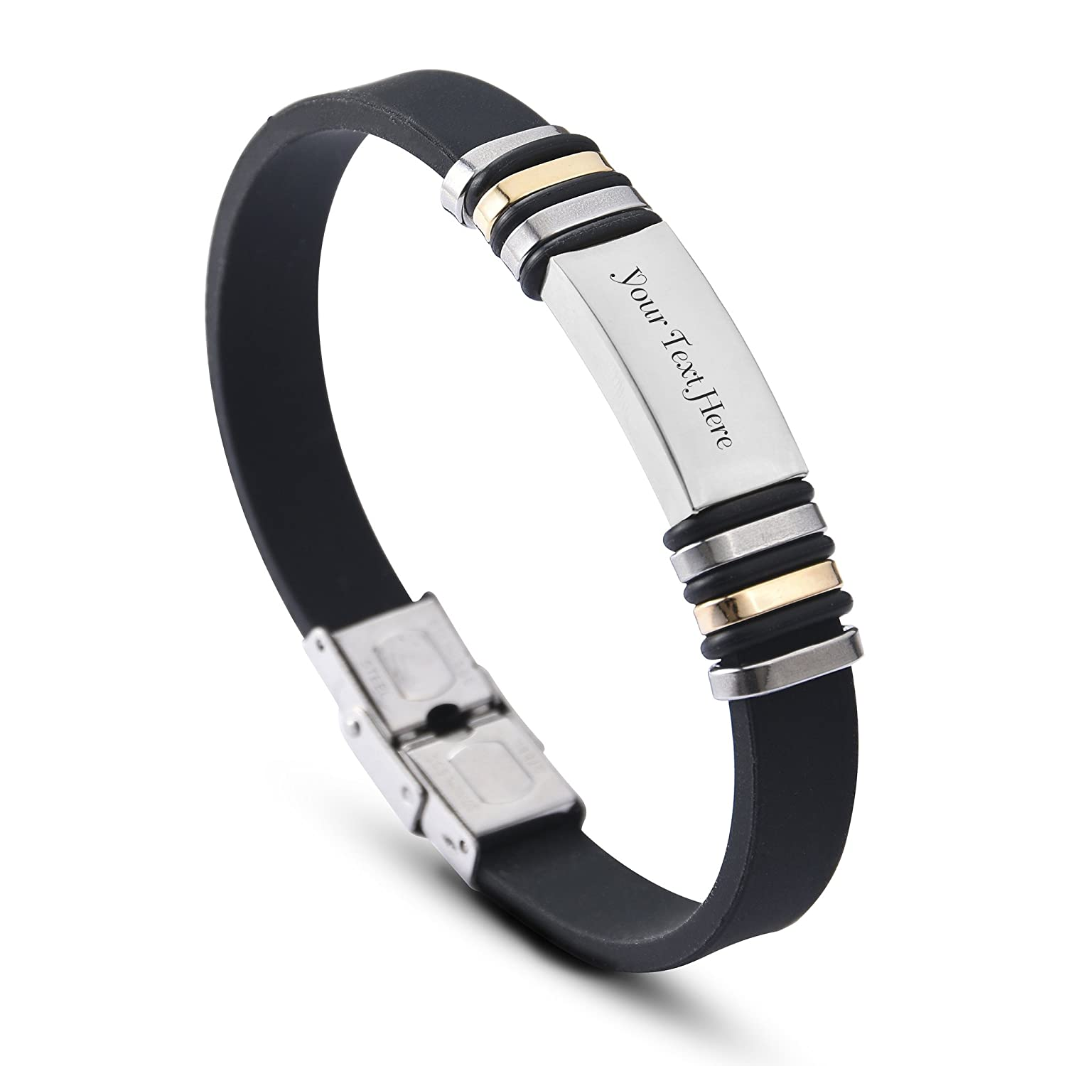0a1b9ef834143 Amazon.com  Custom Engraved Stainless Steel Name ID Plate Rubber Bracelet  Wristband - 3 Colors to Choose (Black+Silver)  Jewelry