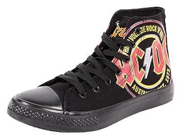 Zapatillas originales AC/DC, alto voltaje, F.B.I., color negro Zapatillas negras AC