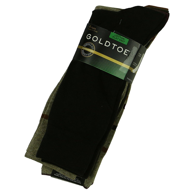 Goldtoe mens 4 pack premium flat knit socks 10/13 black/grey ...