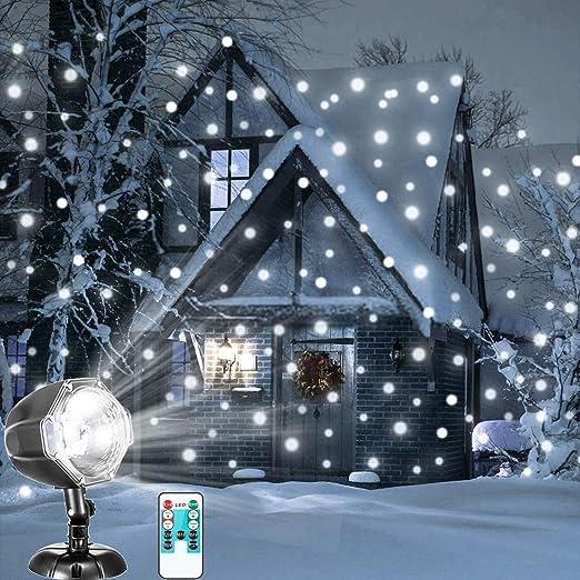 LED Nevadas Luz Control remoto Navidad Nieve Caída Noche Proyector Luces Copo de nieve blanco Ráfagas Foco giratorio Exterior Paisaje interior ...