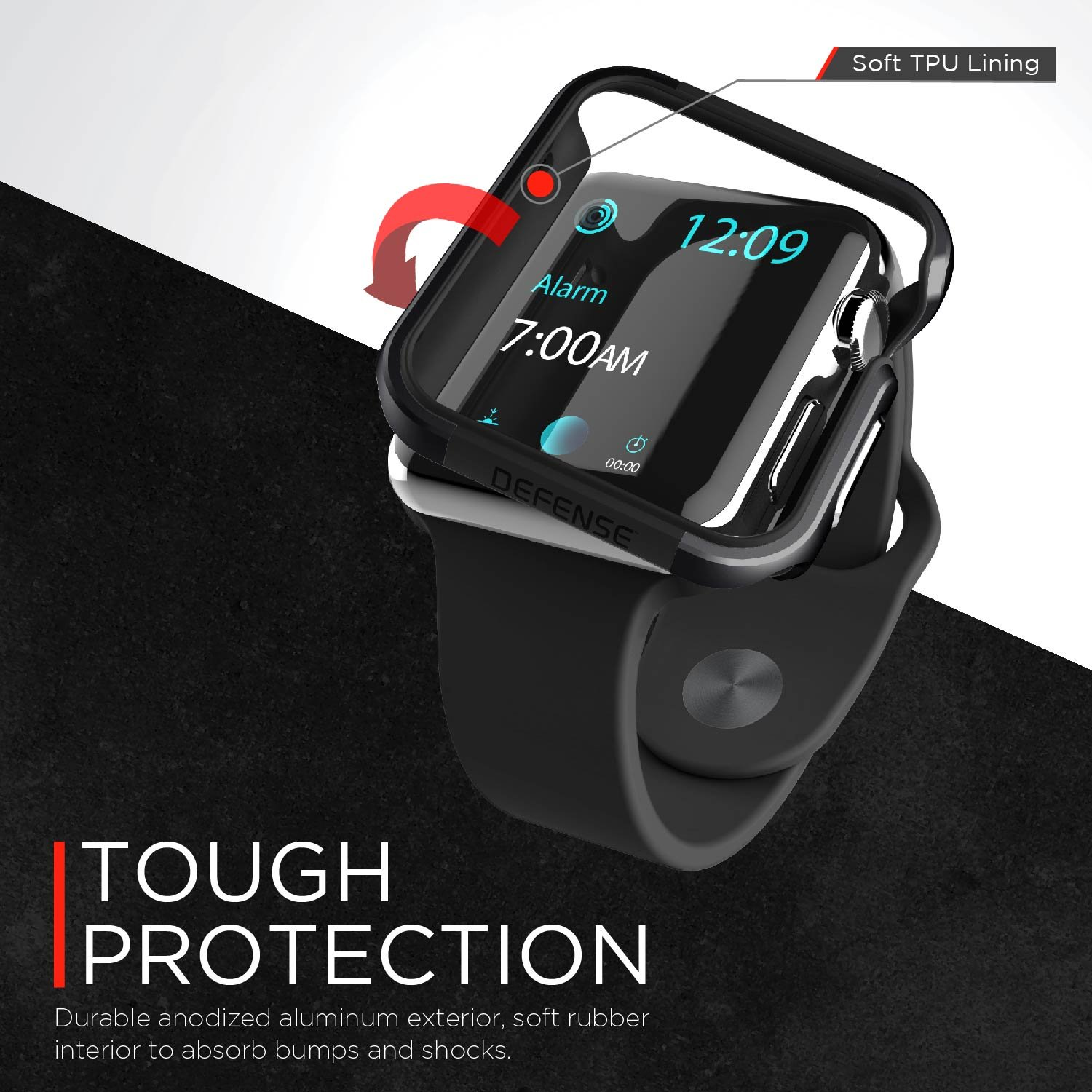X Doria 42mm Apple Watch Case Defense Edge Premium Series 1 Aluminum And Tpu Bumper Frame Charcoal Compatible With 2