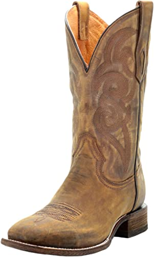 Corral Boots Mens Distressed Leather Embroidery Comfort System Square Toe Golden Western Boot