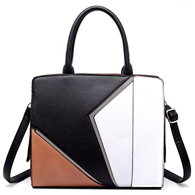 6381a6e894fd9f Miss Lulu PU Leather Stitching Splicing Designer Ladies Shoulder Handbags  Tri-Colour Top handle Totes