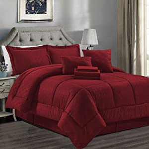 JML Comforter Set, Microfiber Bedding Comforter Sets with Shams - Luxury Solid Color Quilted Embroidered Pattern, Perfect for Any Bed Room or Guest Room (Burgundy, Twin)