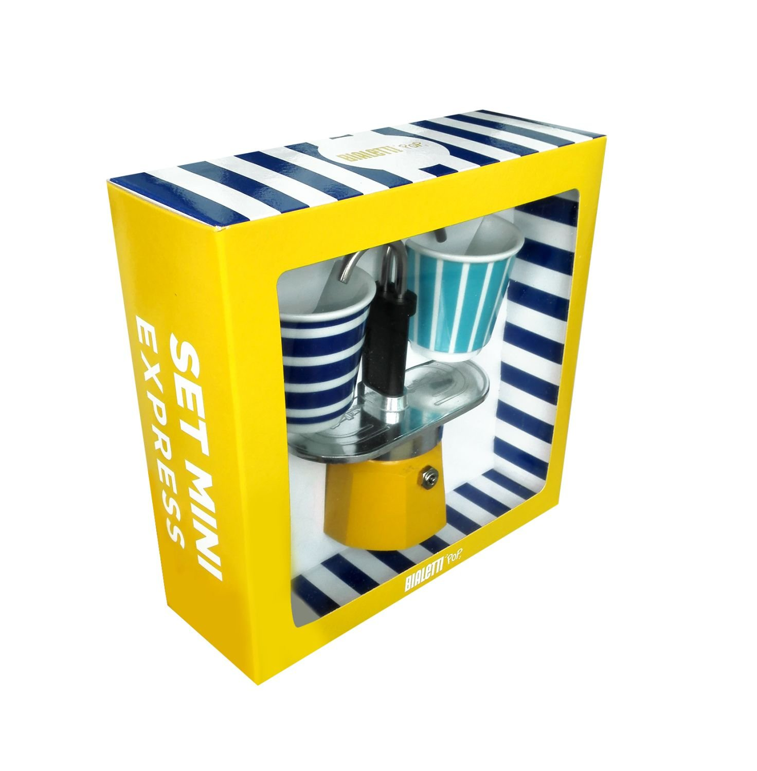 Bialetti - Mini Express Espresso Maker 2 Cup Yellow & 2 Bicchierini Pop Coffee Cups by Bialetti