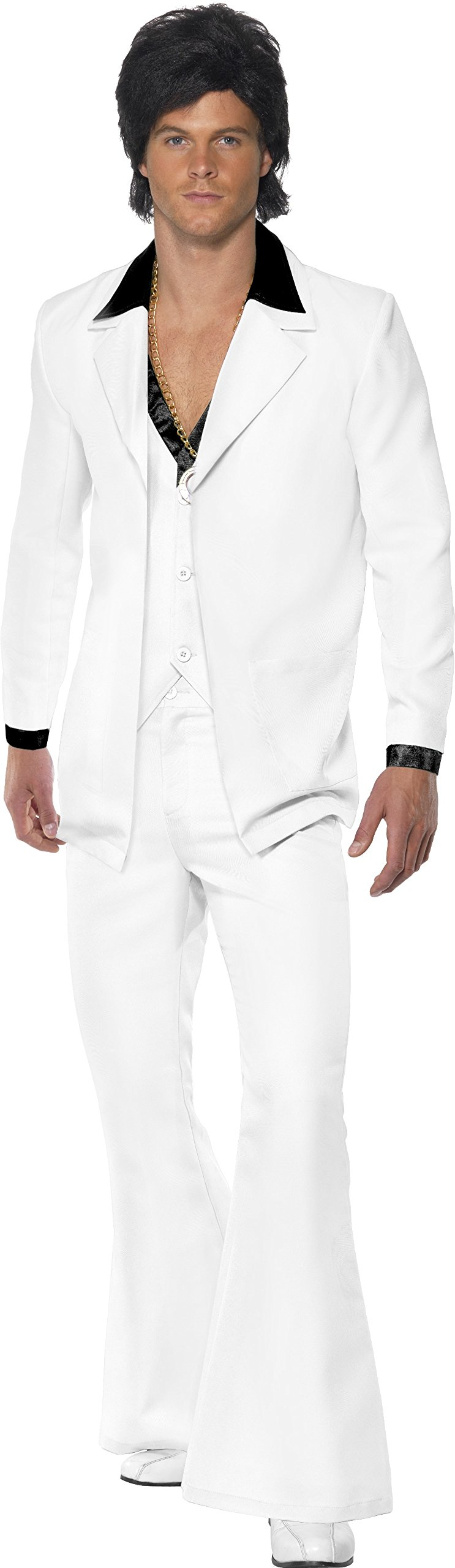 Smiffys Men's 1970's Suit Costume, Jacket With Mock Shirt and Waistcoat and pants, 70 Disco, Serious Fun, Size M, 39427