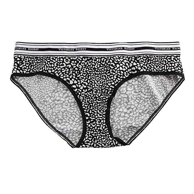 6644c3ea456d Victoria's Secret Cotton Logo Hiphugger Panty, Extra Large, Black and White  Cheetah