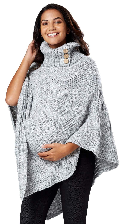Chelsea Clark Womens Maternity Nursing Knit Poncho Textured Cape Turtleneck 911p (Grey, ONE Size US 4/6/8, one Size)