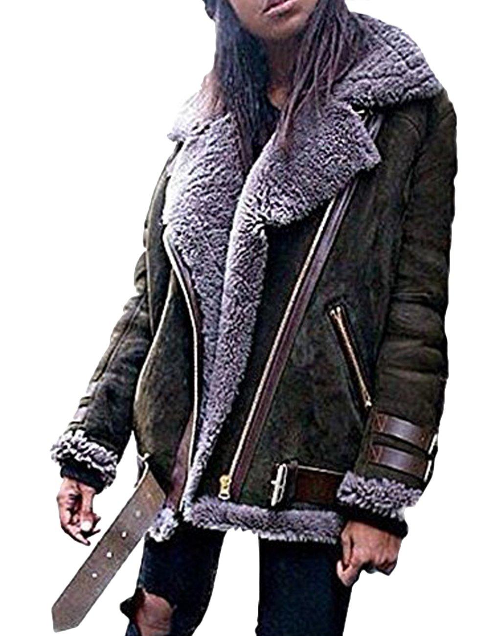Minetom Femme Hiver Manteau Mode Veste De Motard Chauds Mesdames Veste En Daim Parka Style De Rue Extérieur Coat Jacket QL171201YW-DE01