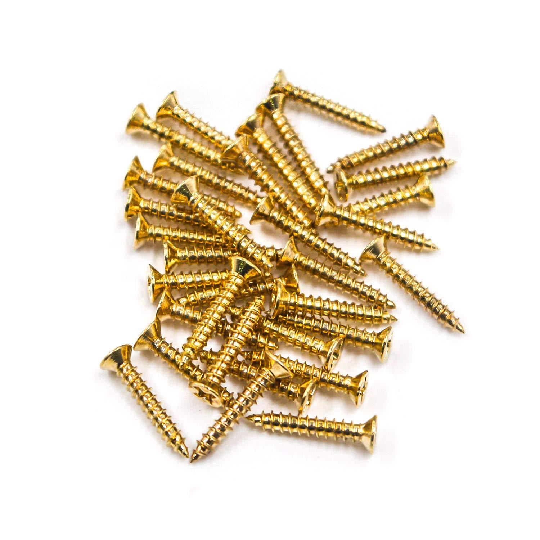 Geesatis Gold Guitar Pickup Ring Mounting Screws Humbucker Guitar Pickup Frame Screw 4 Set 16PCS Metal