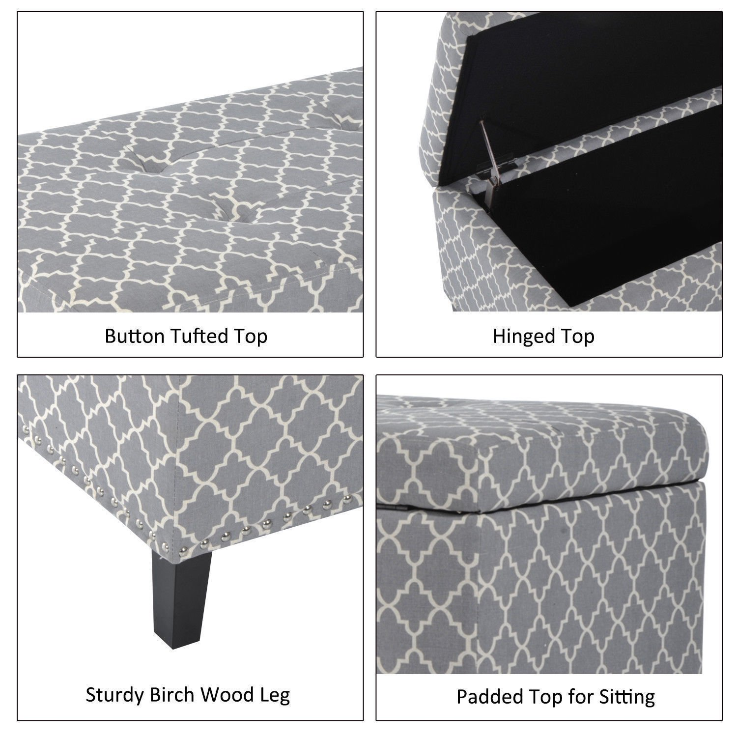 HomCom Large 42 Tufted Linen Fabric Upholstery Storage Bench Ottoman with lift-top Grey Lattice