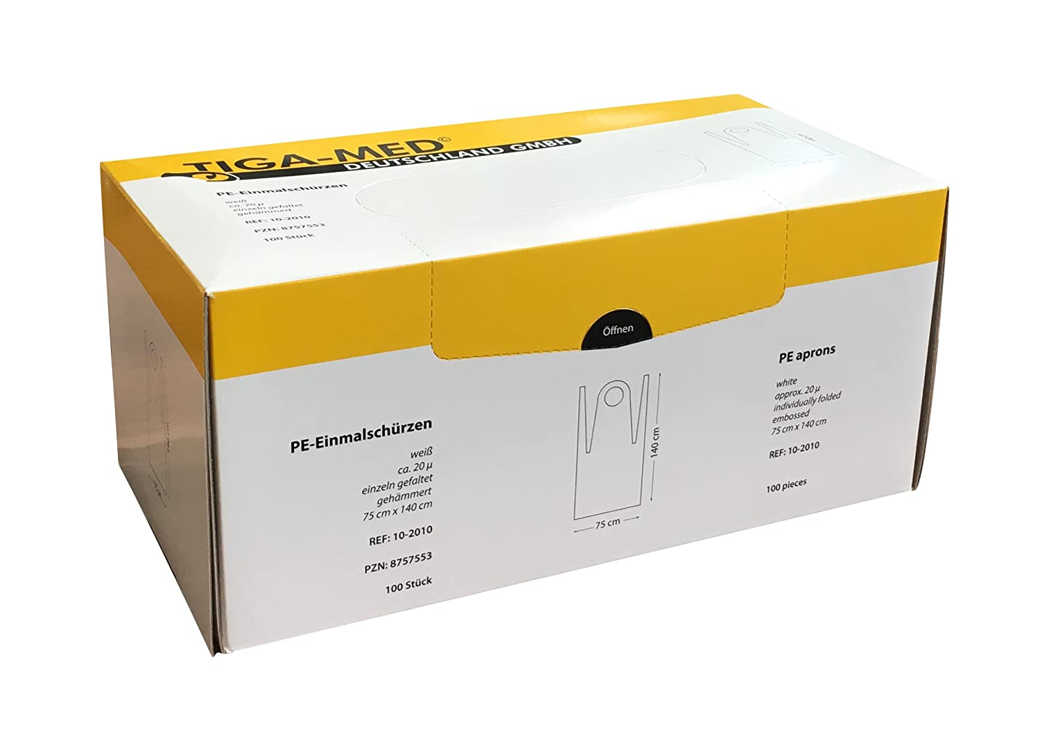 Aprons Disposable PE 75x140/cm Individually Folded 100/Original Tiga-Med Size 20/My