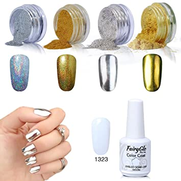Gel Nail Polish Nail Art Chrome Nail Powder Hologarphic Mirror French White 4 Packs Fairyglo