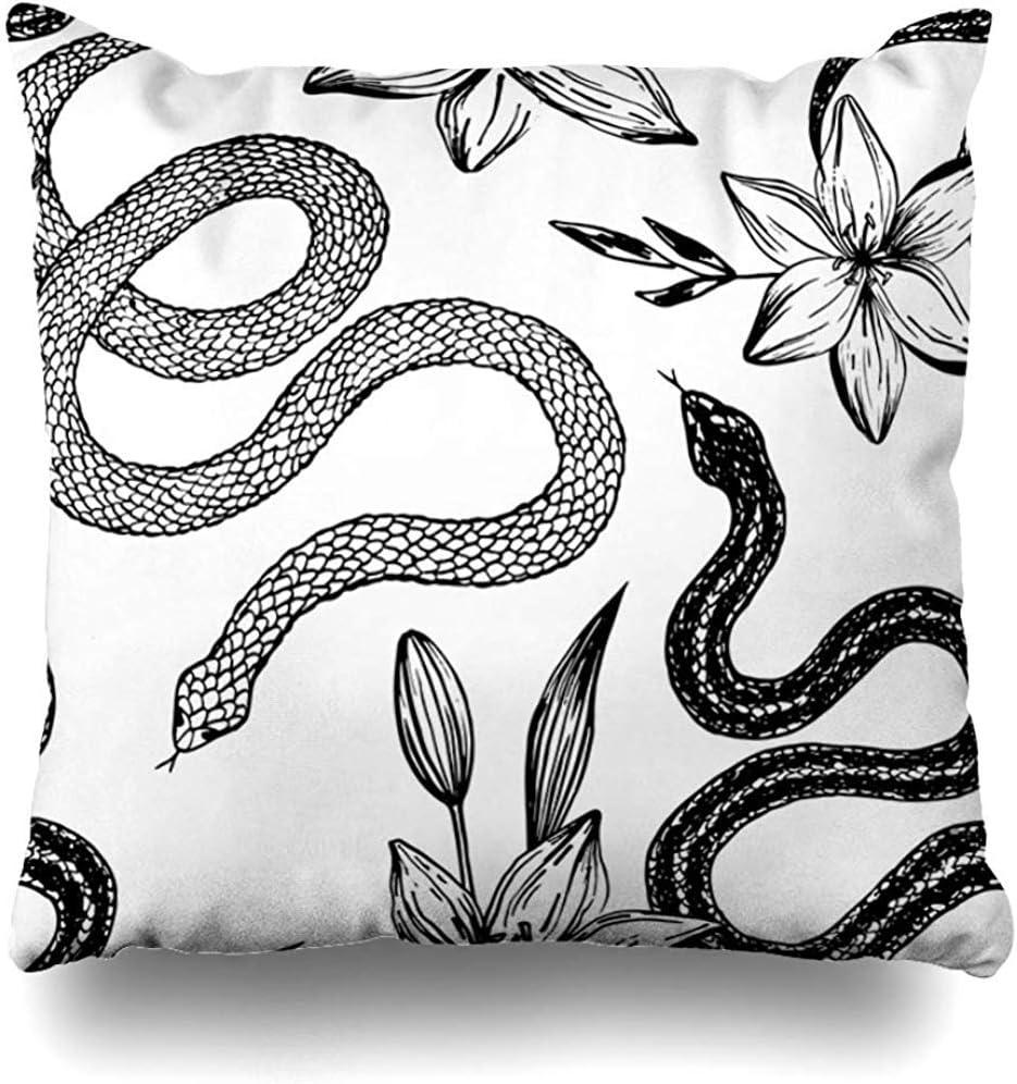 WHEYT Funda de Almohada de Tiro 55X55 Cm Patrón Floral de la Mascota Tinta Dibujada a Mano Serpiente Animales Fauna Espeluznante Mamba venenosa Textil Naturaleza Funda de cojín
