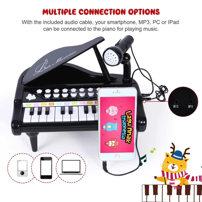 General SGILE Juguete de Piano Eléctrico Instrumento Musical Educativo de 24 Teclas con Micrófono Rosa Regalos de Cumpleaños Juguetes para Bebé: Amazon.es: ...