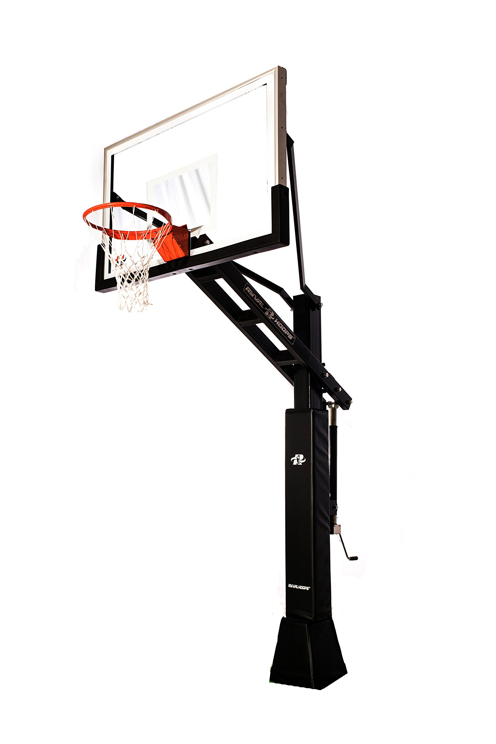 """Ryval C660 Basketball Hoop - 60"""" Clear -View Tempered Glass Backboard, Height Adjustable for Children & Adults, In Ground Basketball Goal, Dual Spring Heavy Duty Flex Rim"""
