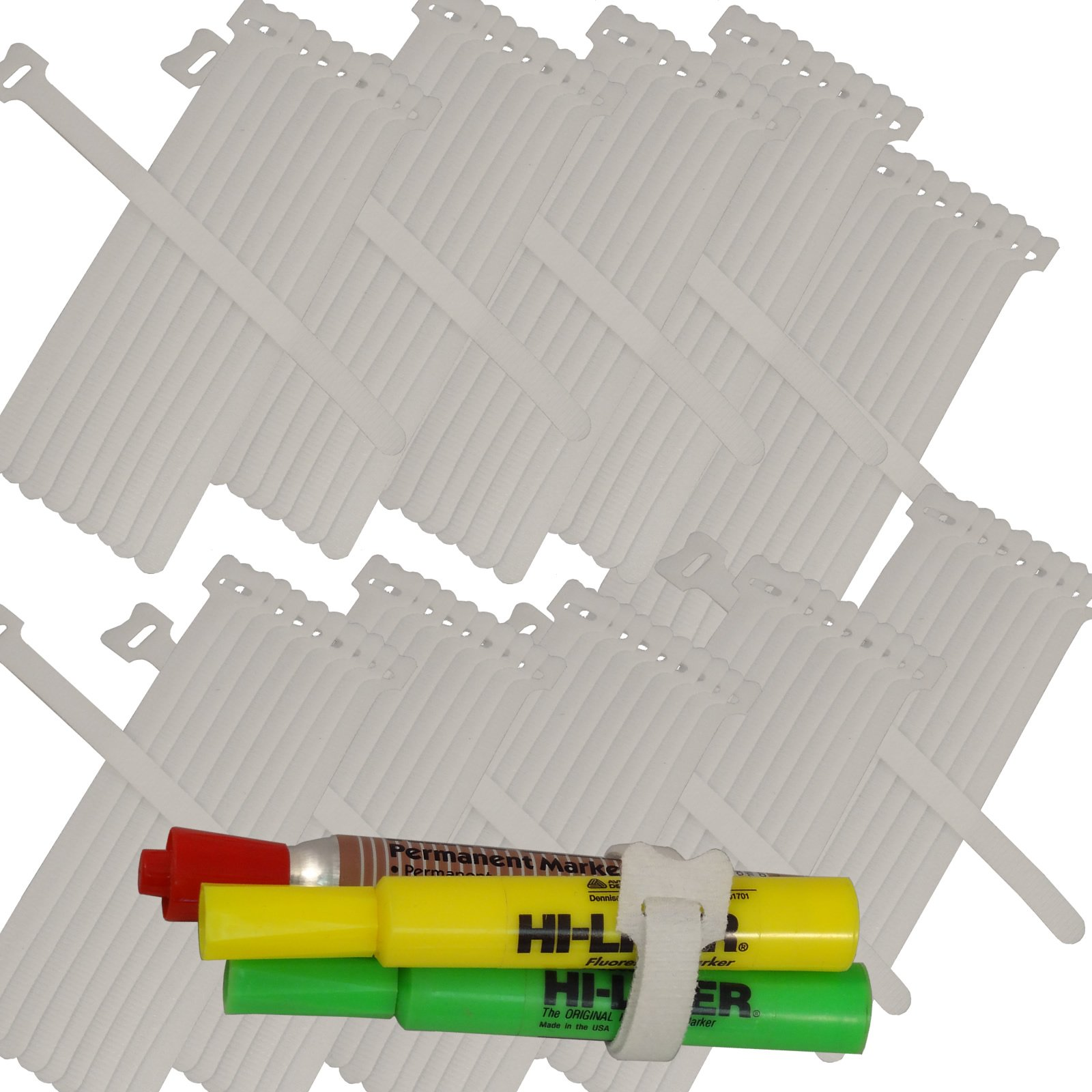 BlueDot Trading Self Gripping Hook & Loop Fastener Cable Tie Straps .5 x 8 Inch, Quantity 100, White