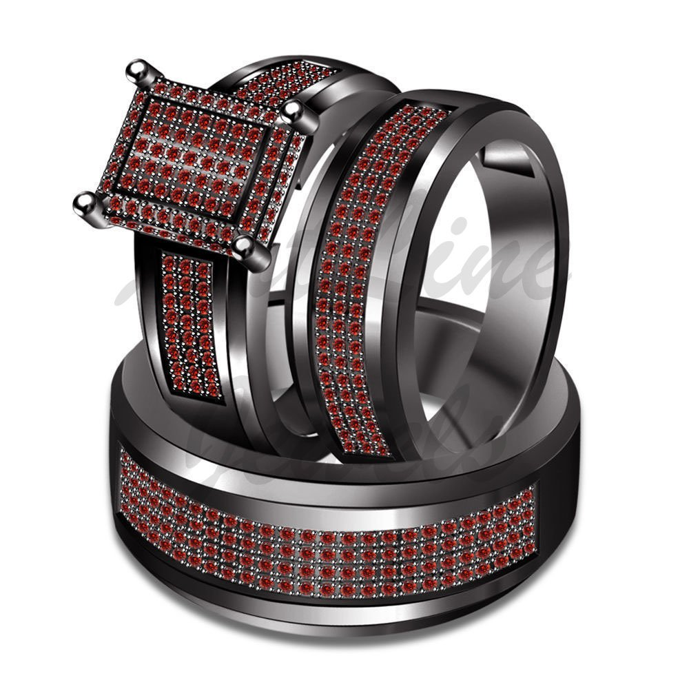 ArtLine Jewels Round Cut Garnet Wedding His And Her 14k Black Gold Finish Engagement Trio Ring Set