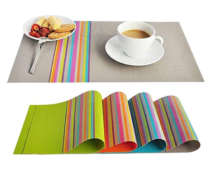 FOOKREN Platzdeckchen 4er Set PVC Platzsets Abgrifffeste Hitzebeständig Tischsets Abwaschbar Rutschfest Schmutzabweisend und