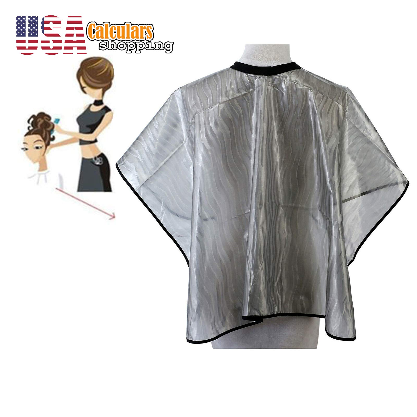 US Seller Hair Cutting Dye Cape Pro Salon Hairdressing Hairdresser Gown Barber Cloth Apron (Gray) by Calculars