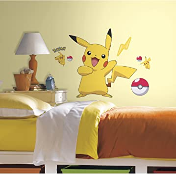 Baby Nursery Boys /& Girls Bedroom Peel Stick Pokemon cards Large Removable Vinyl Wall Stickers Giant Wall Decals for Kids Rooms