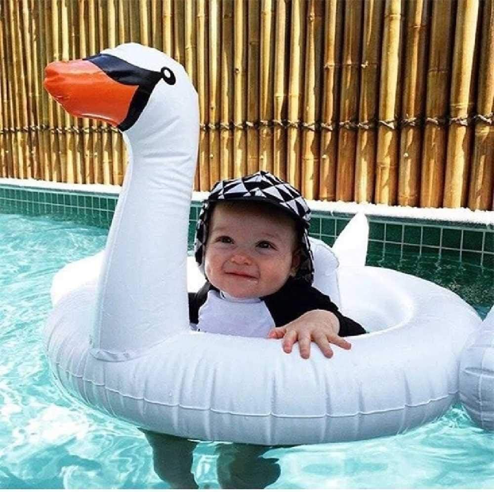 DUNDUNGUOJI Hammocks & Loungers de Edad bebé tiburón Inflable del Flotador de la Piscina de natación con Parasol Flamingo Paseo en círculo Infantil Anillo Seguro Asiento Agua Juguetes Cisne