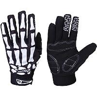 Qepae Bicycle Gloves Skeleton Pattern Full Finger Warm Bike Sports Gloves Black + White