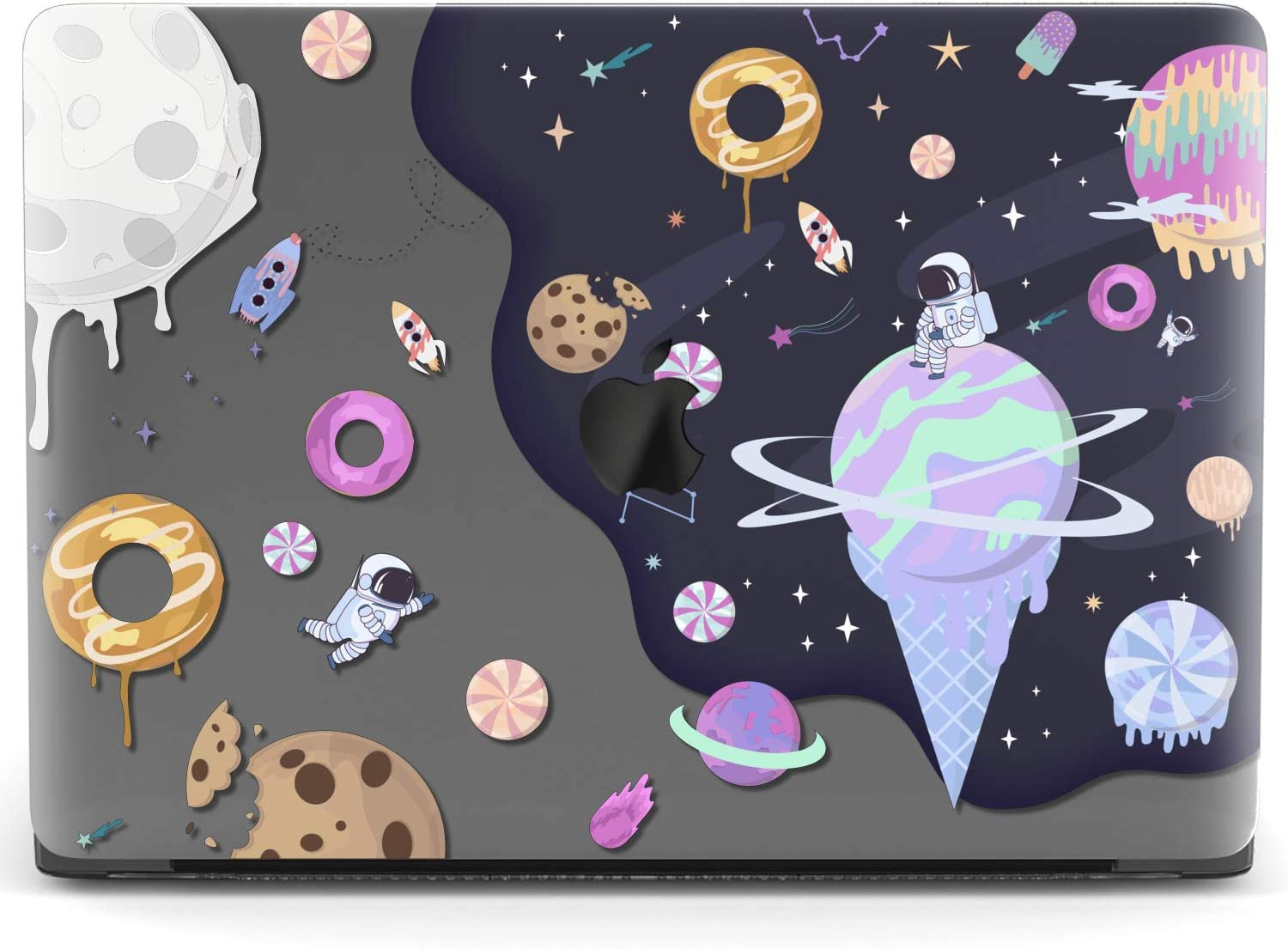 Mertak Hard Case for Apple MacBook Pro 16 Air 13 inch Mac 15 Retina 12 11 2020 2019 2018 2017 Design Protective Plastic Planets Sweet Cookies Space Laptop Print Astronaut Candy Clear Cover Touch Bar