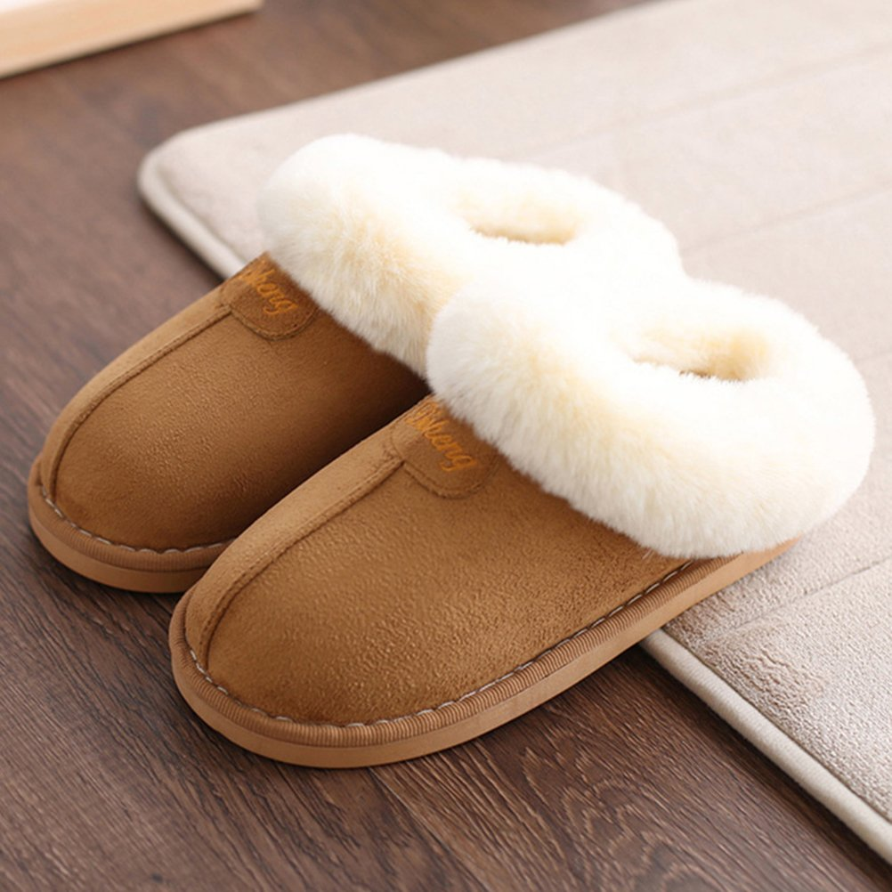 OULII Unisex Winter Home Slipper Plush Warm Indoor Slip On Shoes for Couples Khaki