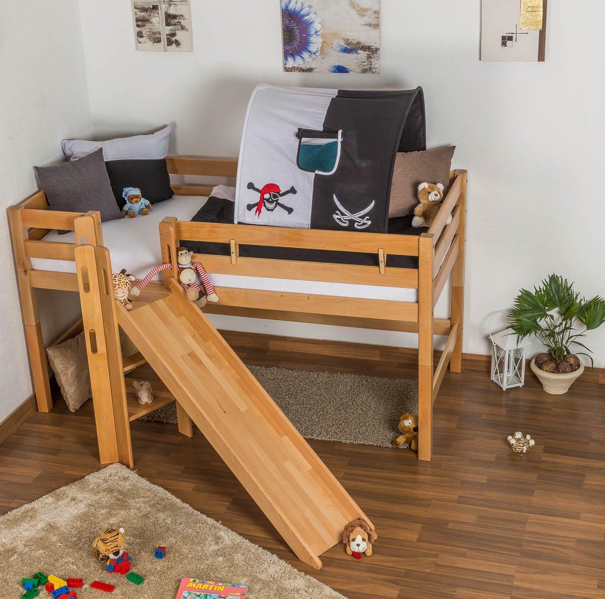 Hochbett mit rutsche  Kinderbett Hochbett Samuel Buche Vollholz massiv mit Rutsche natur ...